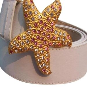 Donald Pliner Rhinestone Leather Metal Star Belt